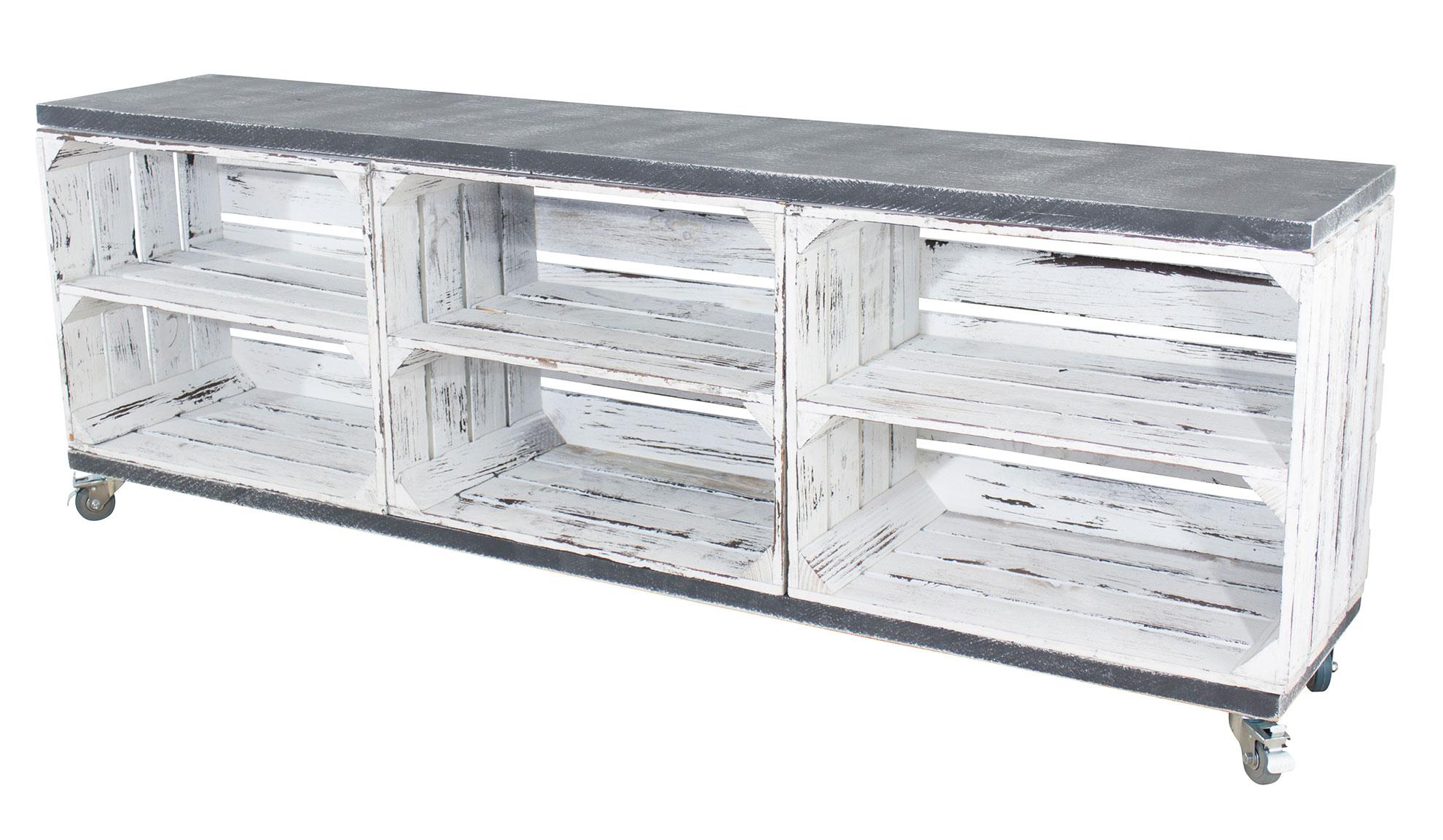 TV Schrank aus 3 Kisten in shabby weiß mit 2 Bohlenbrettern in shabby schwarz auf Rollen, 150x53x30