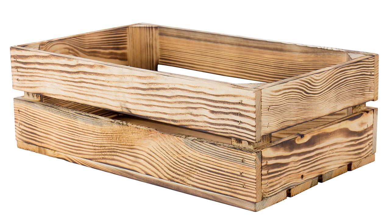 Kleine flambierte Holzkiste ohne Mittelbrett 47x29x15,7cm