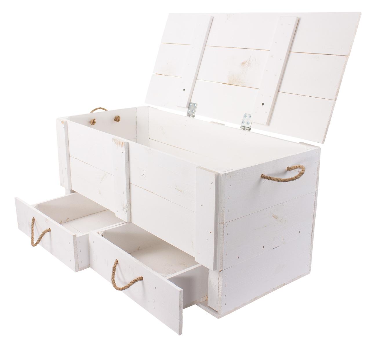 XXL Holztruhe weiß mit 2 Schubladen und Kordel 85,5x42x43,5cm