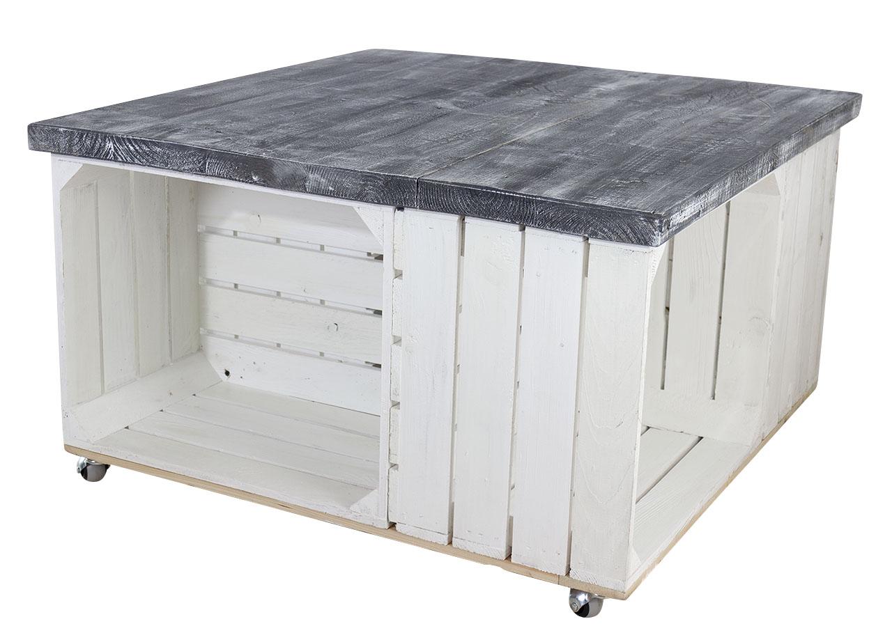 Couchtisch aus weißen Apfelkisten und Tischplatte aus shabby schwarzen Holzbohlen auf Rollen 85x85xcm