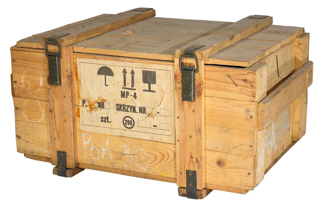 Historische mittlere Munitionskiste in natur optik 80x60x40cm