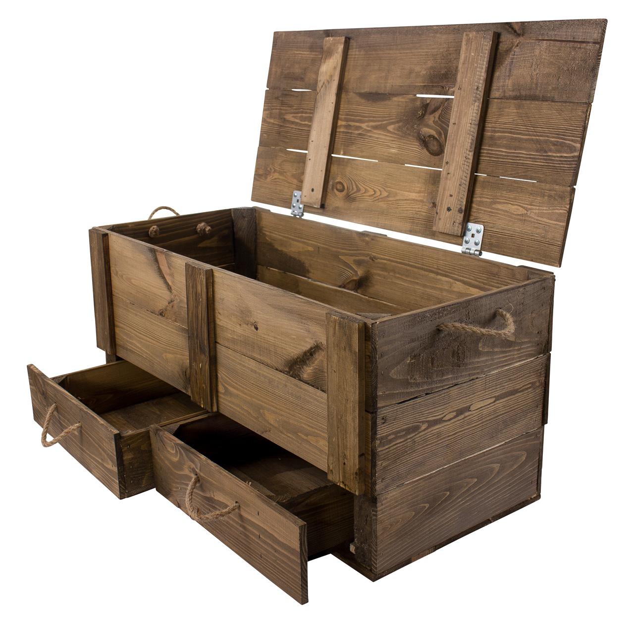 XXL Holztruhe Used mit 2 Schubladen und Kordel 85,5x42x43,5cm