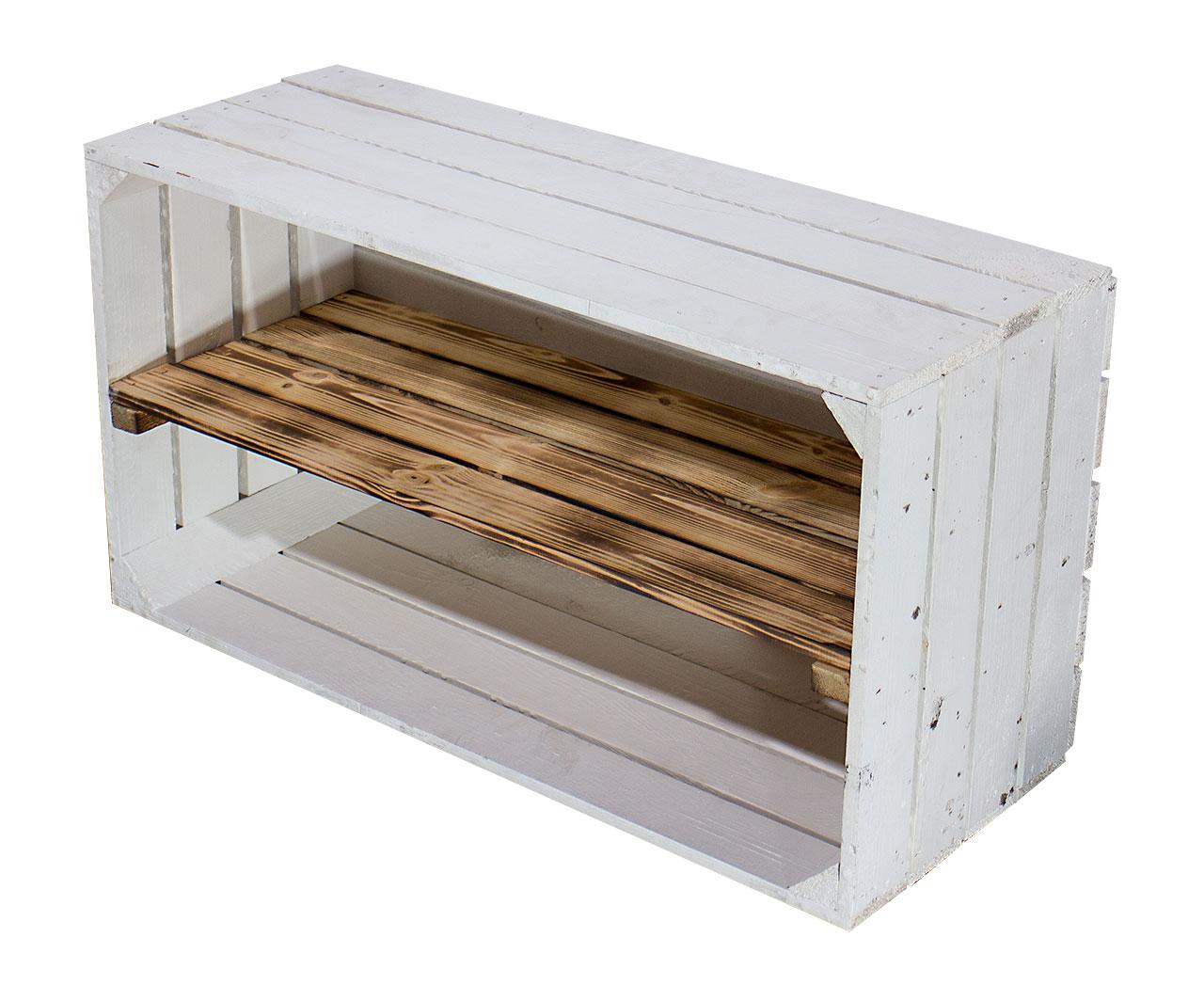 Breite weiß geflammte Kiste 74,5X40,5X31CM