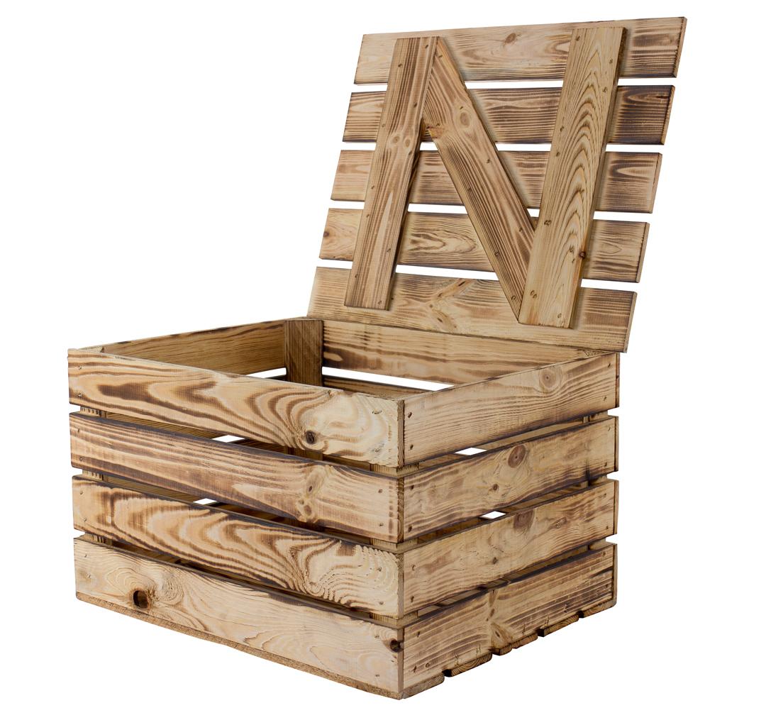 Neue Holztruhe geflammt *klein* 48x36x28cm