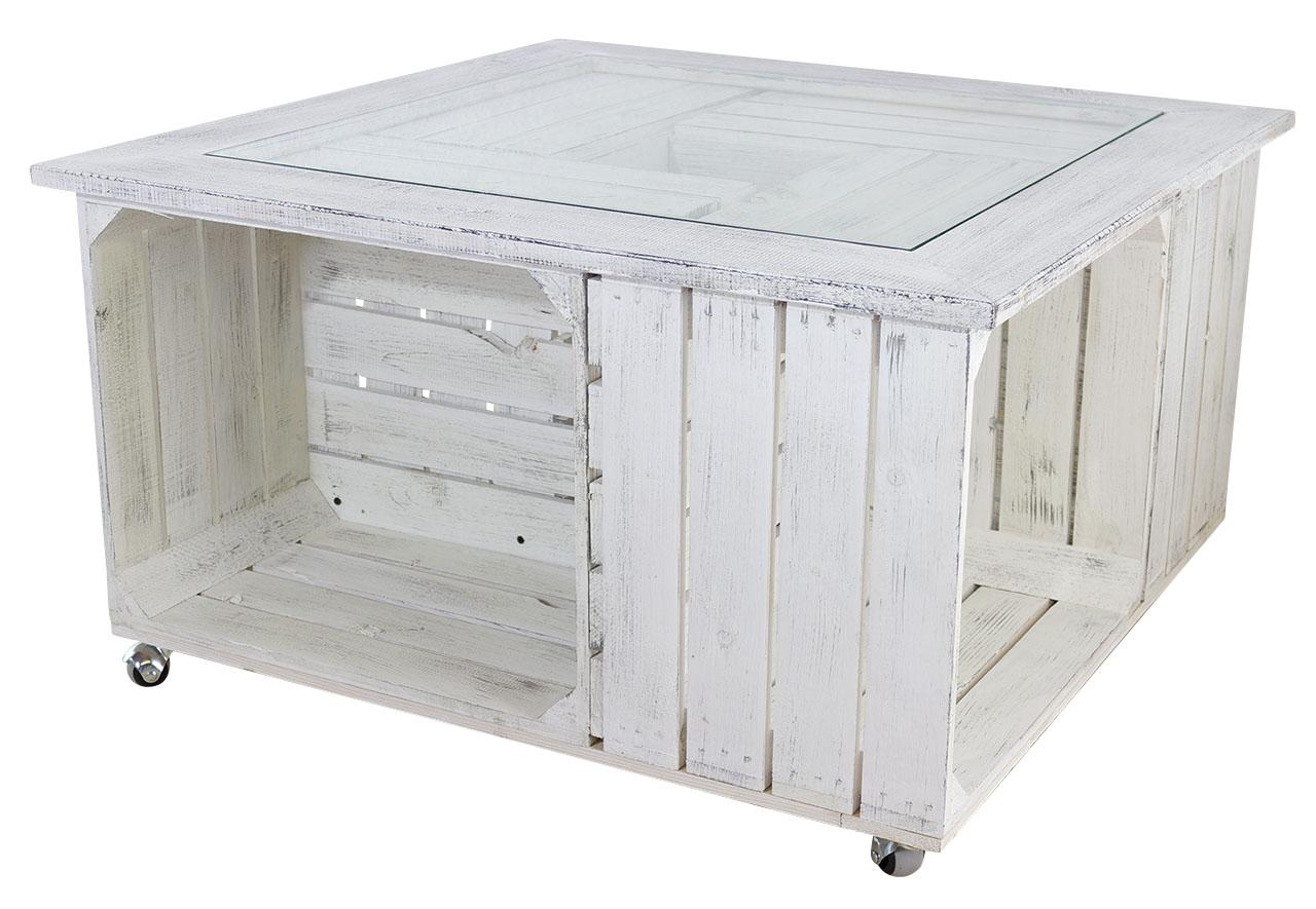 Schöner Wohnzimmertisch aus Holzkisten im modernen Vintage Stil / mit Glasplatte  85x85cm