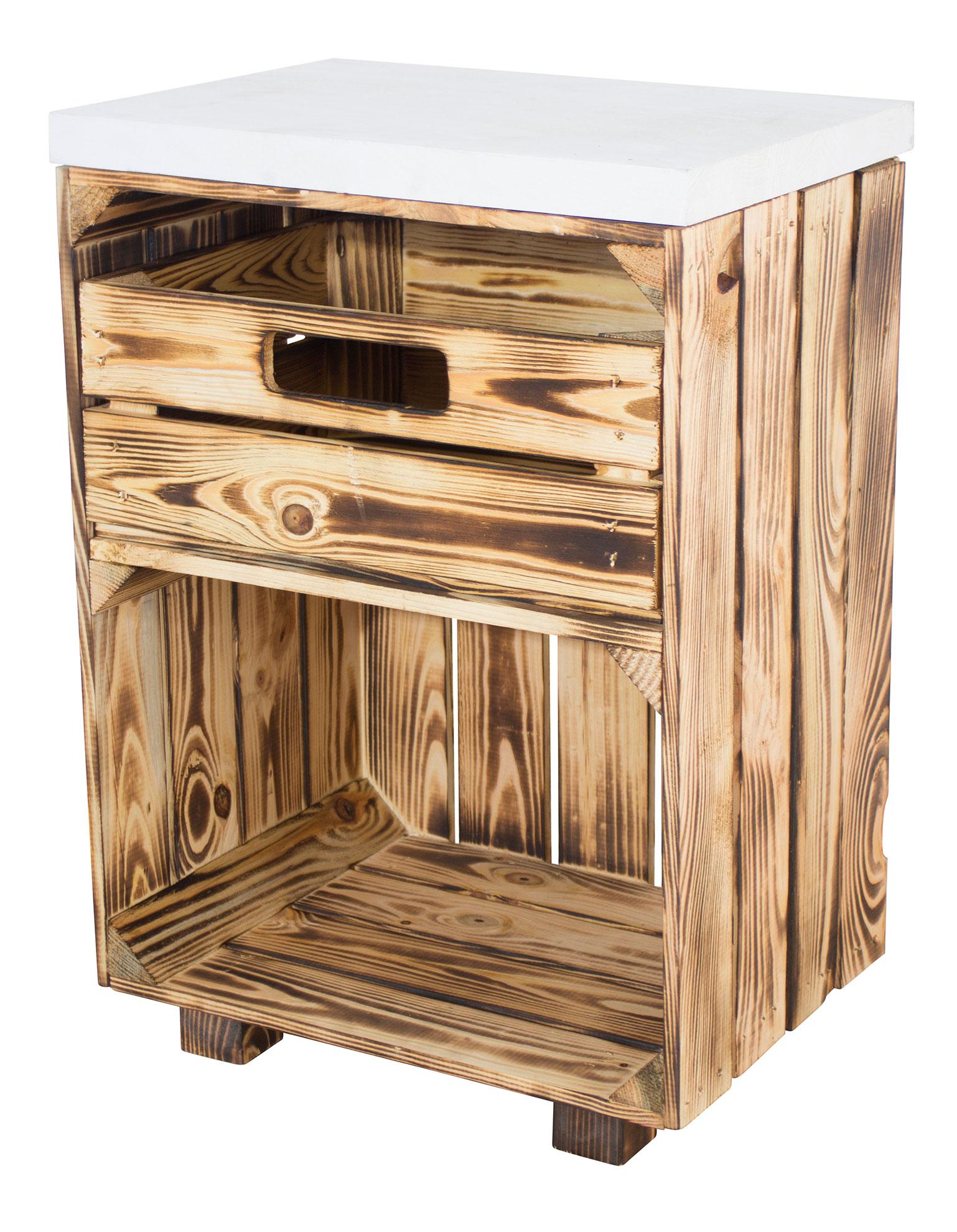 Geflammter Nachttisch mit Schublade und einem weißen Bohlenbrett auf Holzfüßen, 40x57x30,5