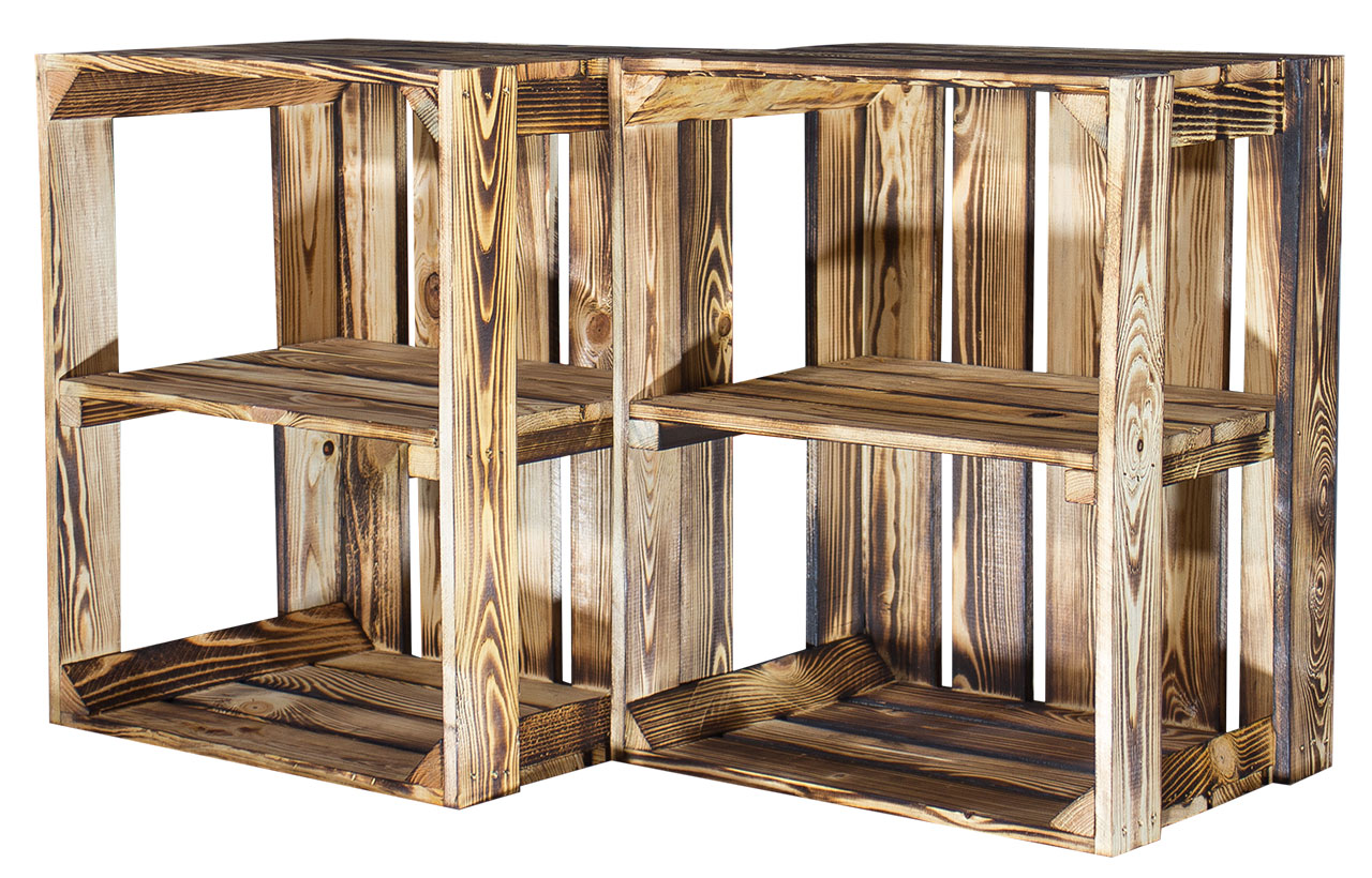 3x geflammte holzkiste mittelbrett obstkisten apfelkisten flambiert display ebay. Black Bedroom Furniture Sets. Home Design Ideas