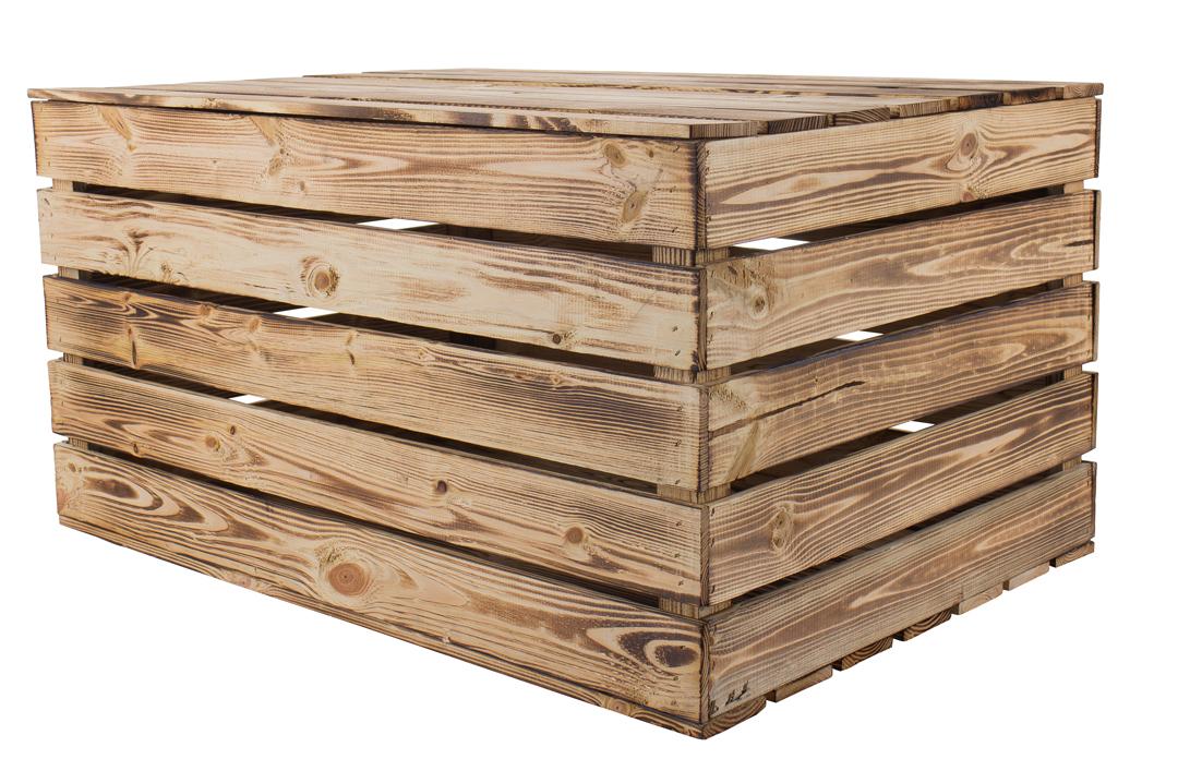 *-B-Ware *Neue Holztruhe geflammt