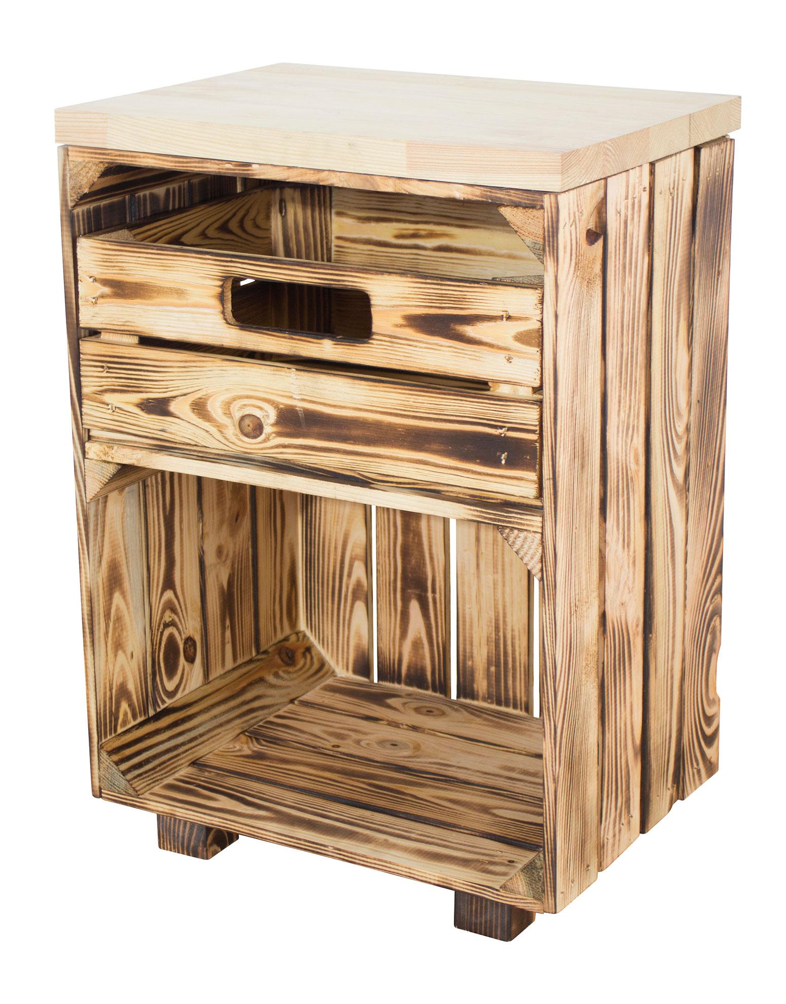 Geflammter Nachttisch mit Schublade und Bohlenbrett in natur auf Füßen 40x57x30