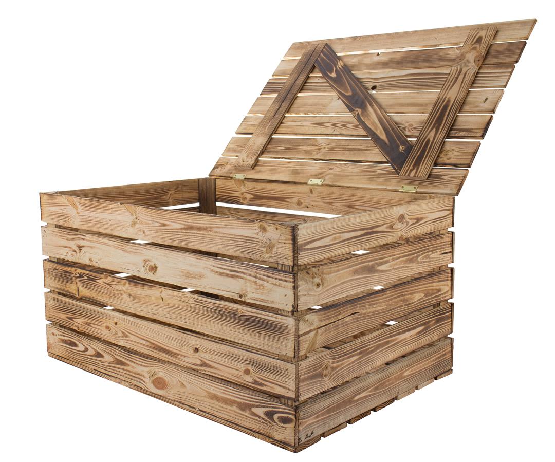 Neue Holztruhe geflammt *groß* 85x55x46cm