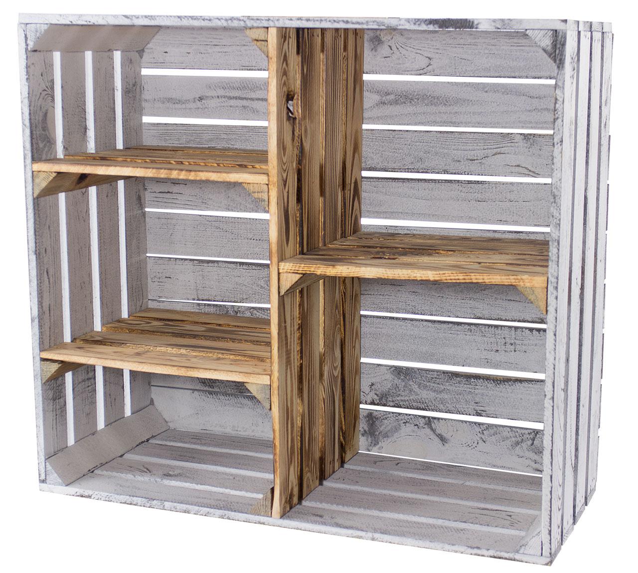 Vintage Design Holzschrank mit 3 Mittelbretter und Trennbrett *grau - geflammt* 77x68x35cm