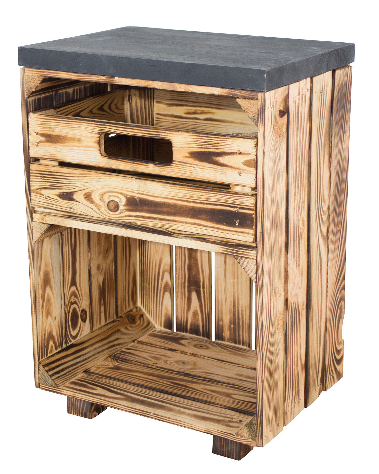 Nachttisch in geflammt mit Schublade und schwarzem Bohlenbrett auf Füßen, 40x57x30