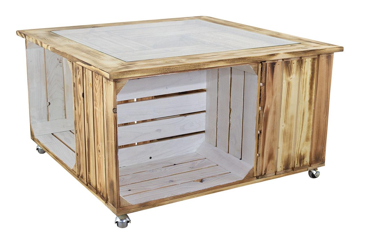 Schöner Wohnzimmertisch aus geflammten Holzkisten / mit Glasplatte  85x85cm