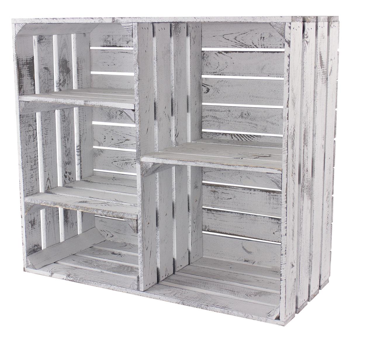 Vintage Design Holzschrank mit 3 Mittelbrettern und Trennbrett *shabby white* 77x68x31cm