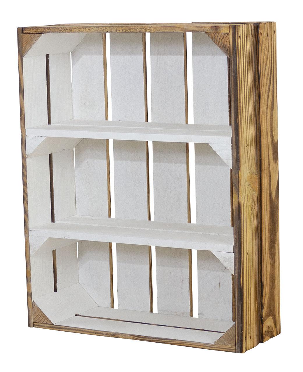 Schmale Holzkiste außen geflammt innen weiß 50x40,5x16cm