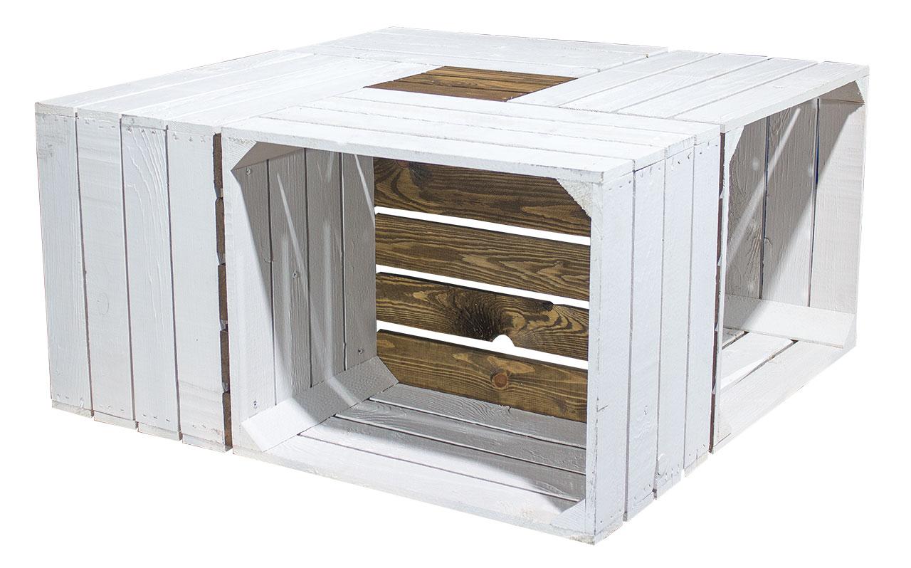 Couchtisch aus weiß-braunen Apfelkisten inkl. Glasplatte und Rollen  81x81x44cm