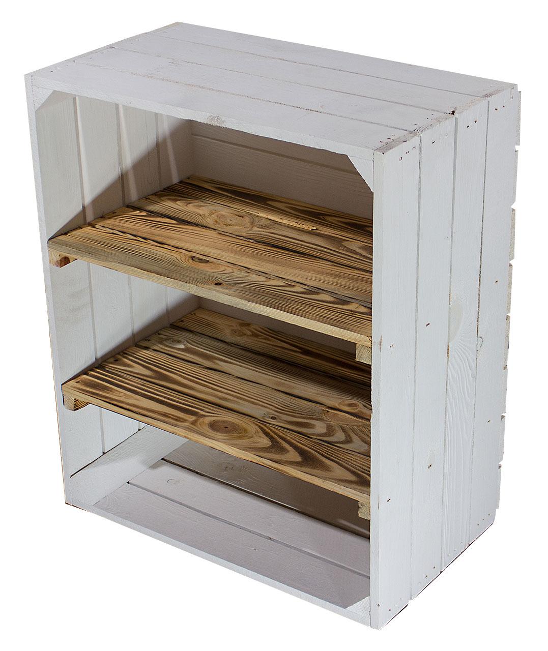Weiße Hochkant Kiste mit 2 geflammten Mittelbretter 61x50x31cm