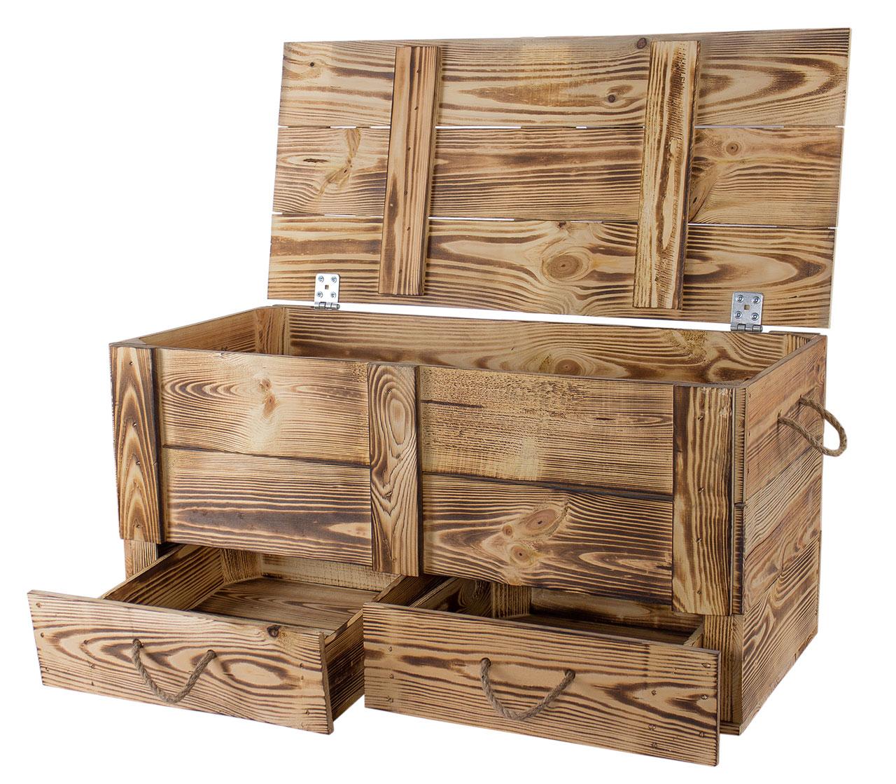 XXL Holztruhe geflammt mit 2 Schubladen und Kordel  85,5x42x43,5cm
