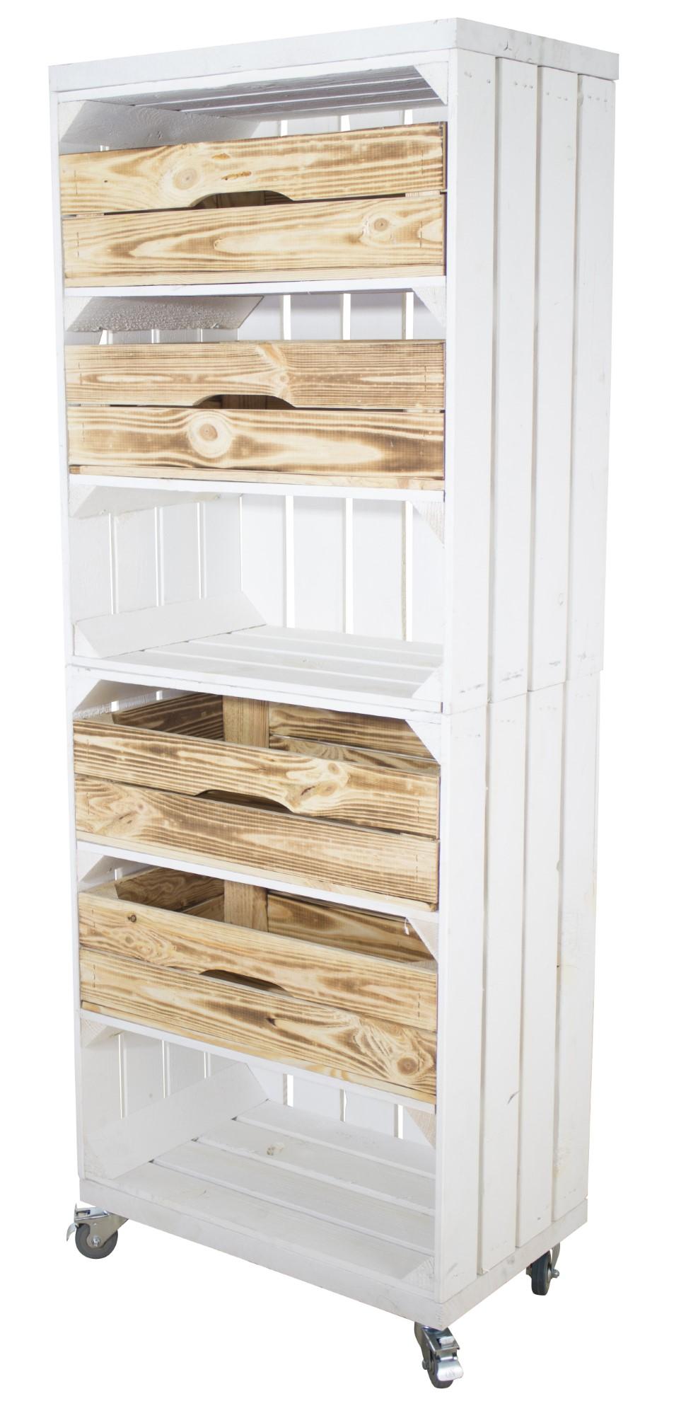 Regal aus 2 hohen weißen Kisten mit 4 geflammten Schubladen sowie 2 Bohlenbrettern, auf Rollen 135x50x30cm