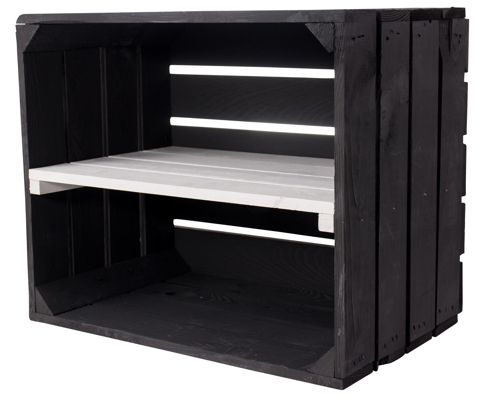 Schwarze Holzkiste mit weißem Mittelbrett -längs- 50x40x30cm