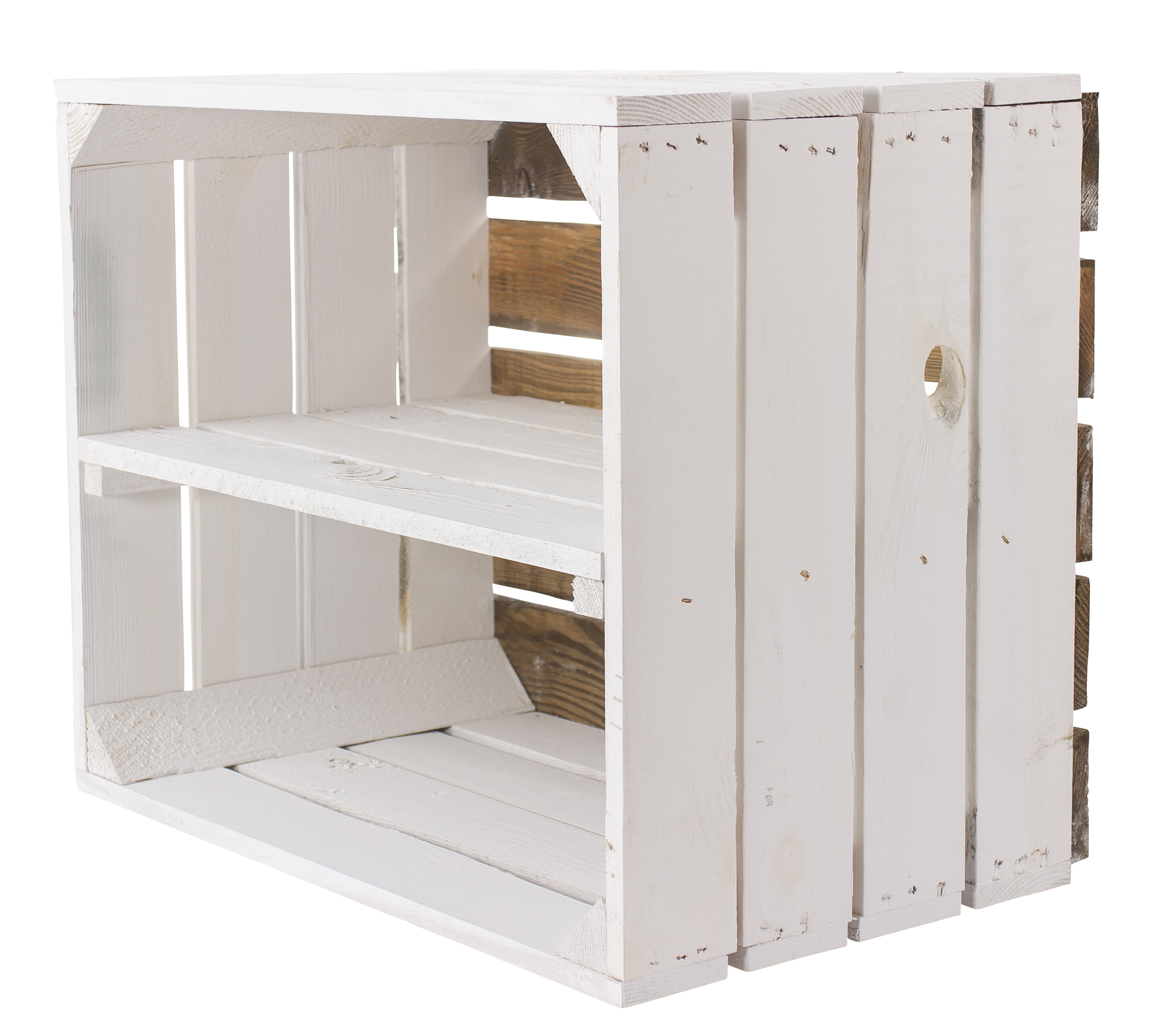 12x Weißes Regal - Apfelkiste Weißer Boden 50x40x30cm