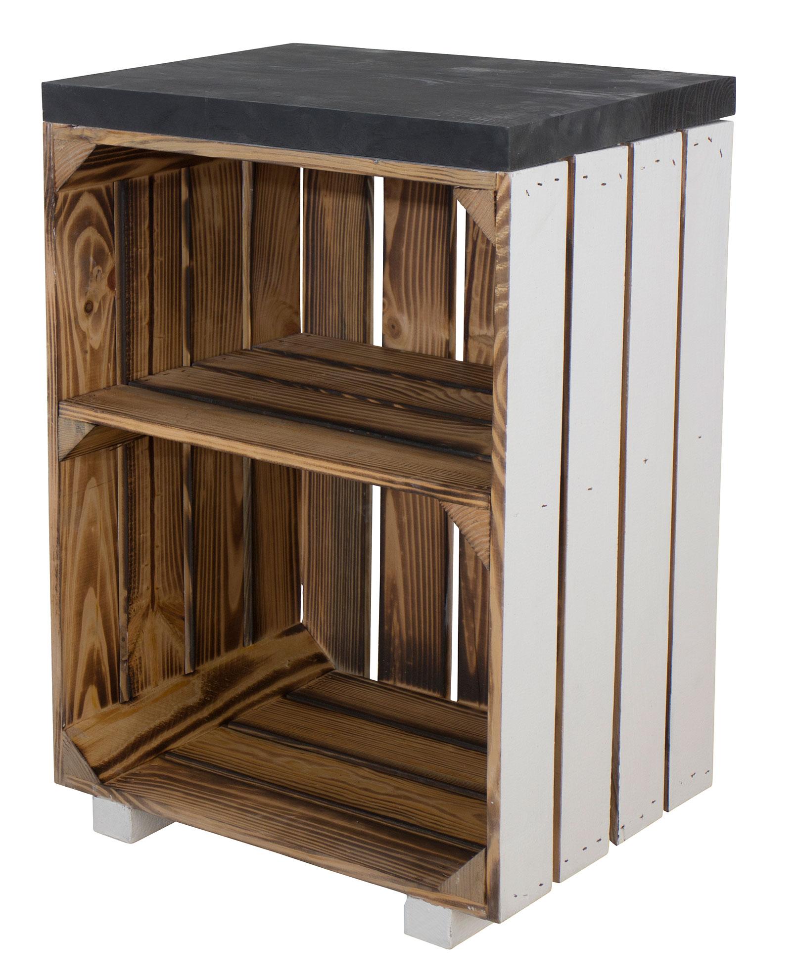 Nachttisch in geflammt mit weißer Patina und schwarzem Bohlenbrett auf Füßen 40x57x30