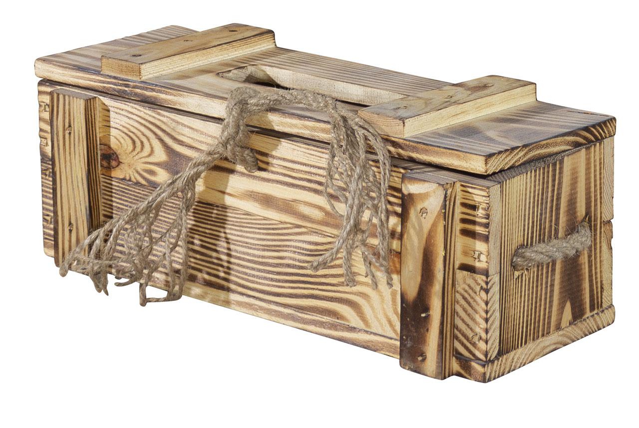 Rustikale Holzkiste / geflammt / für Weinflaschen als Geschenk 34x14x14cm