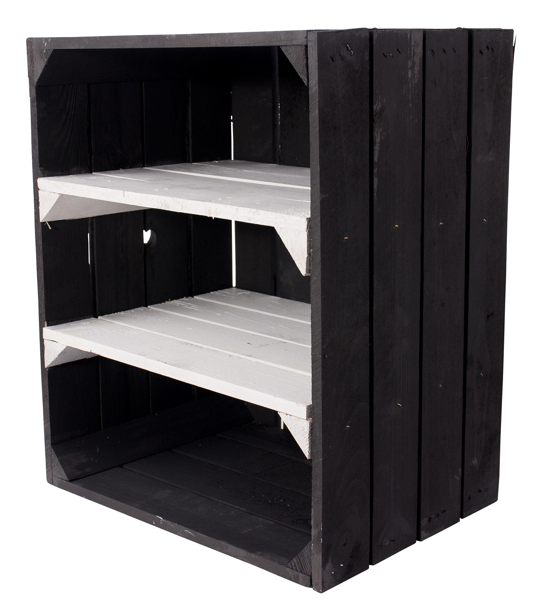 Schwarze Holzkiste mit 2 weißen Mittelbrettern -quer- 50x40x30cm