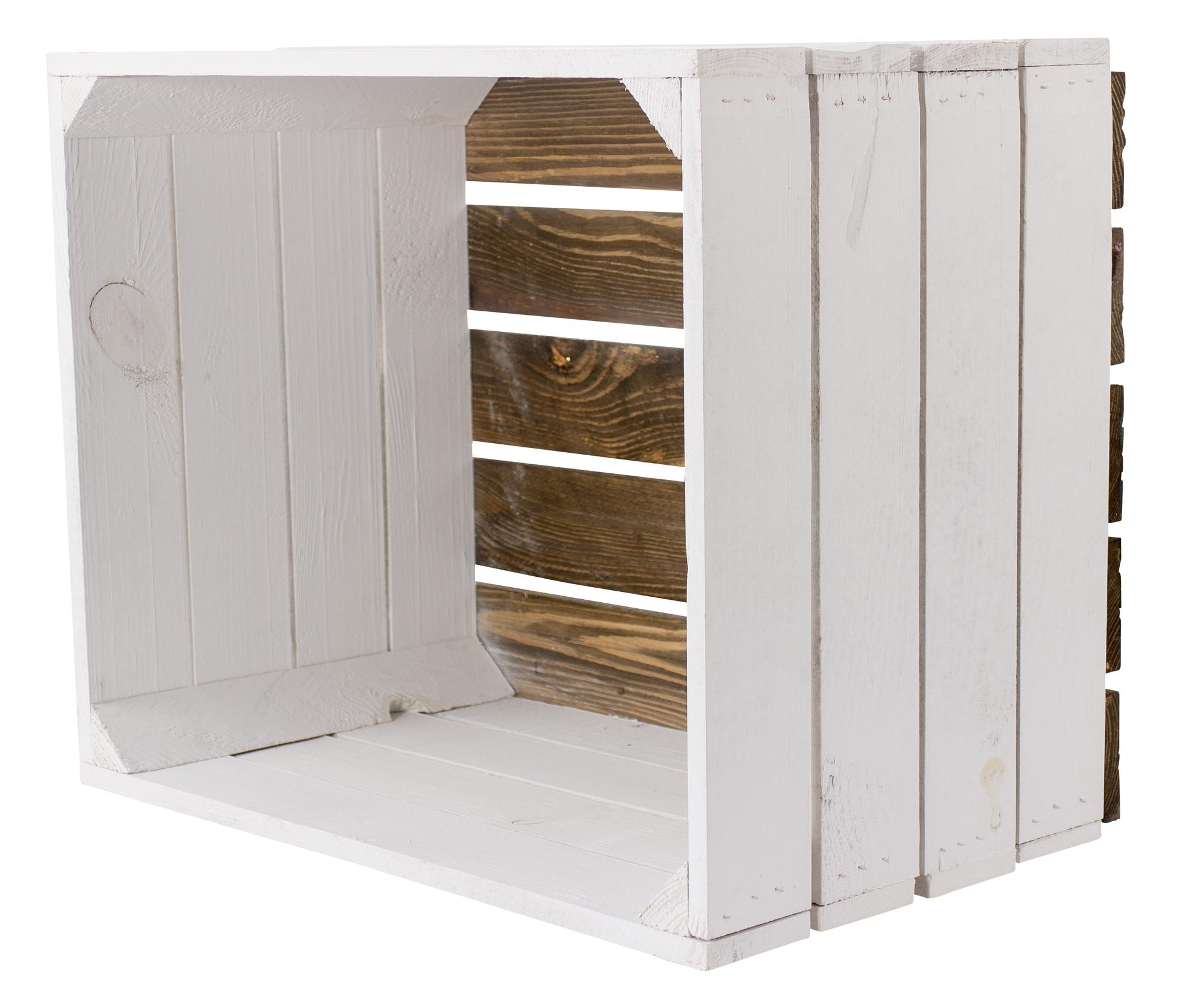 Weiße Apfelkiste - Geflammter Boden 50x40x30cm