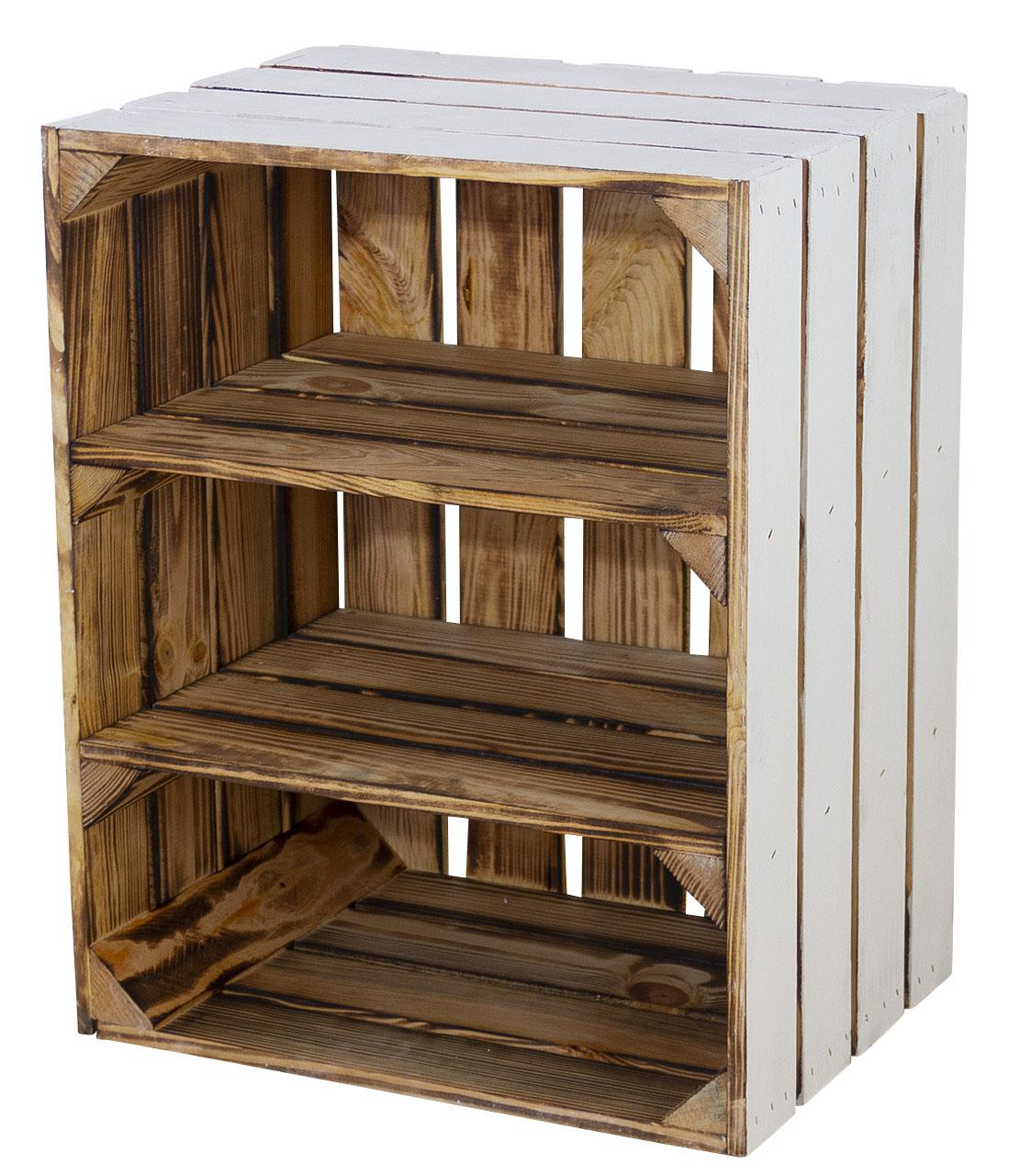 Regalkiste -quer- außen weiß innen 2 geflammte Bretter 50x40x30cm