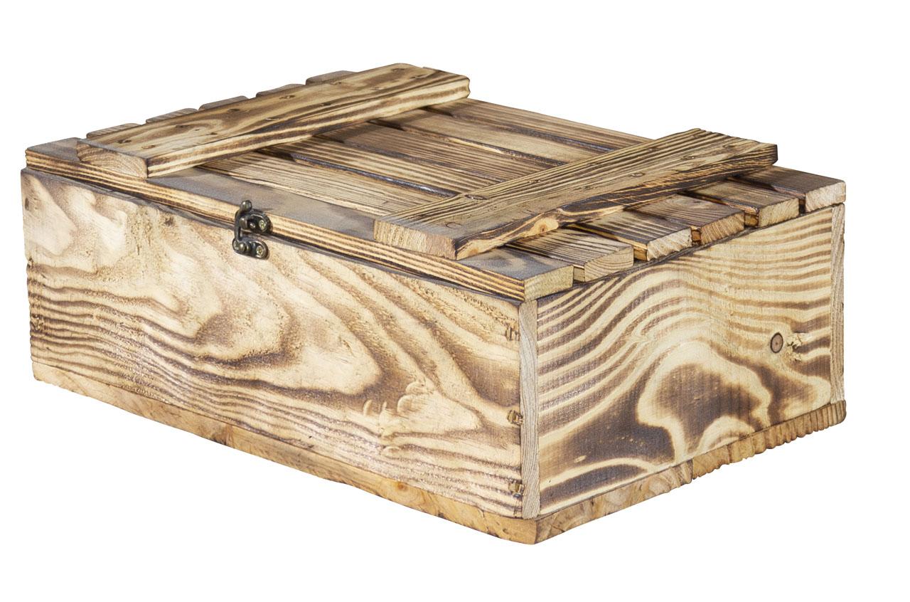 Geflammte Holzschatulle / Holzkasten / Holzbox mit Deckel und Verschluss sowie einer Kordel 36x28x15cm