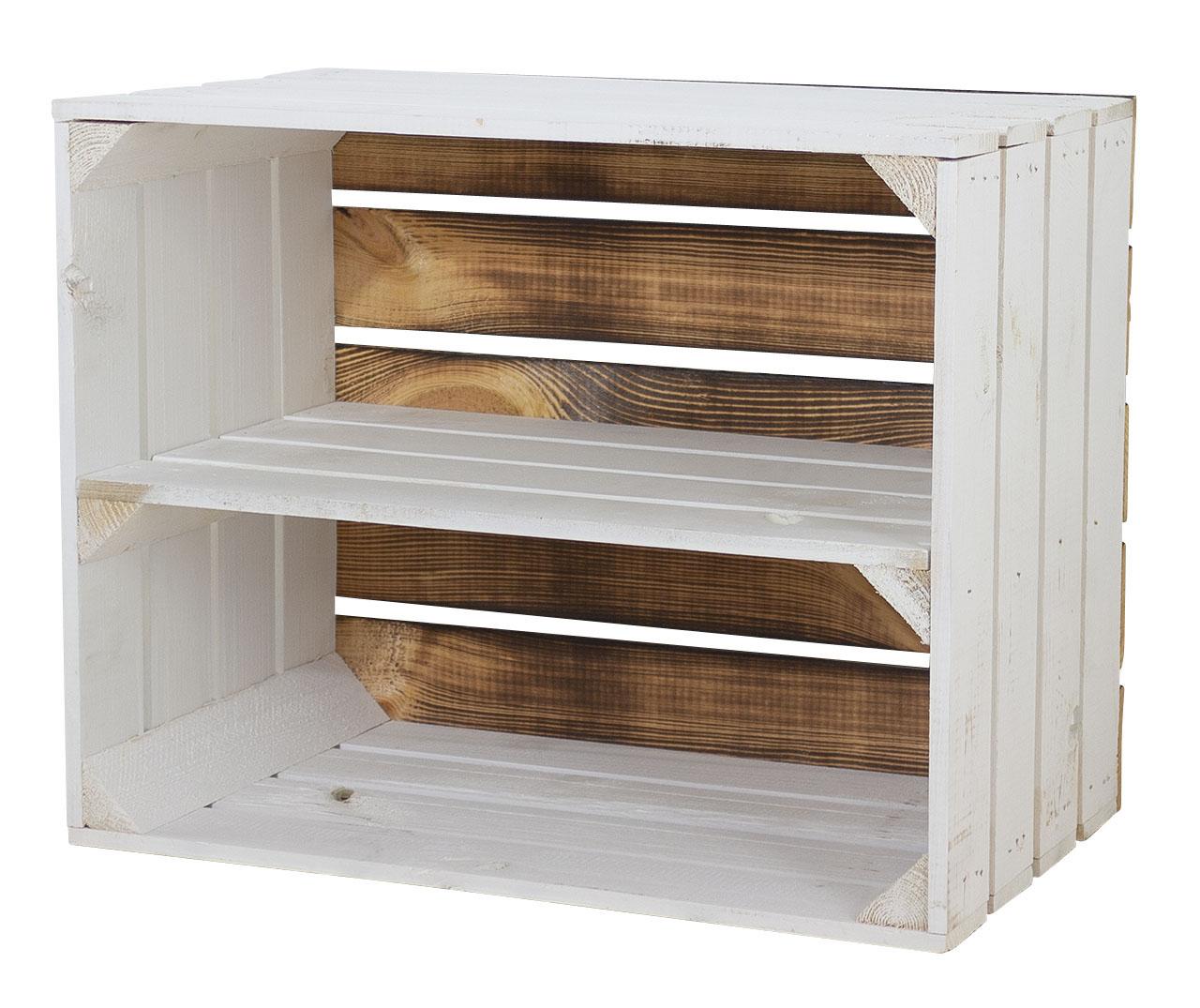 Weißes Regal - Apfelkiste Geflammter Boden 50x40x30cm