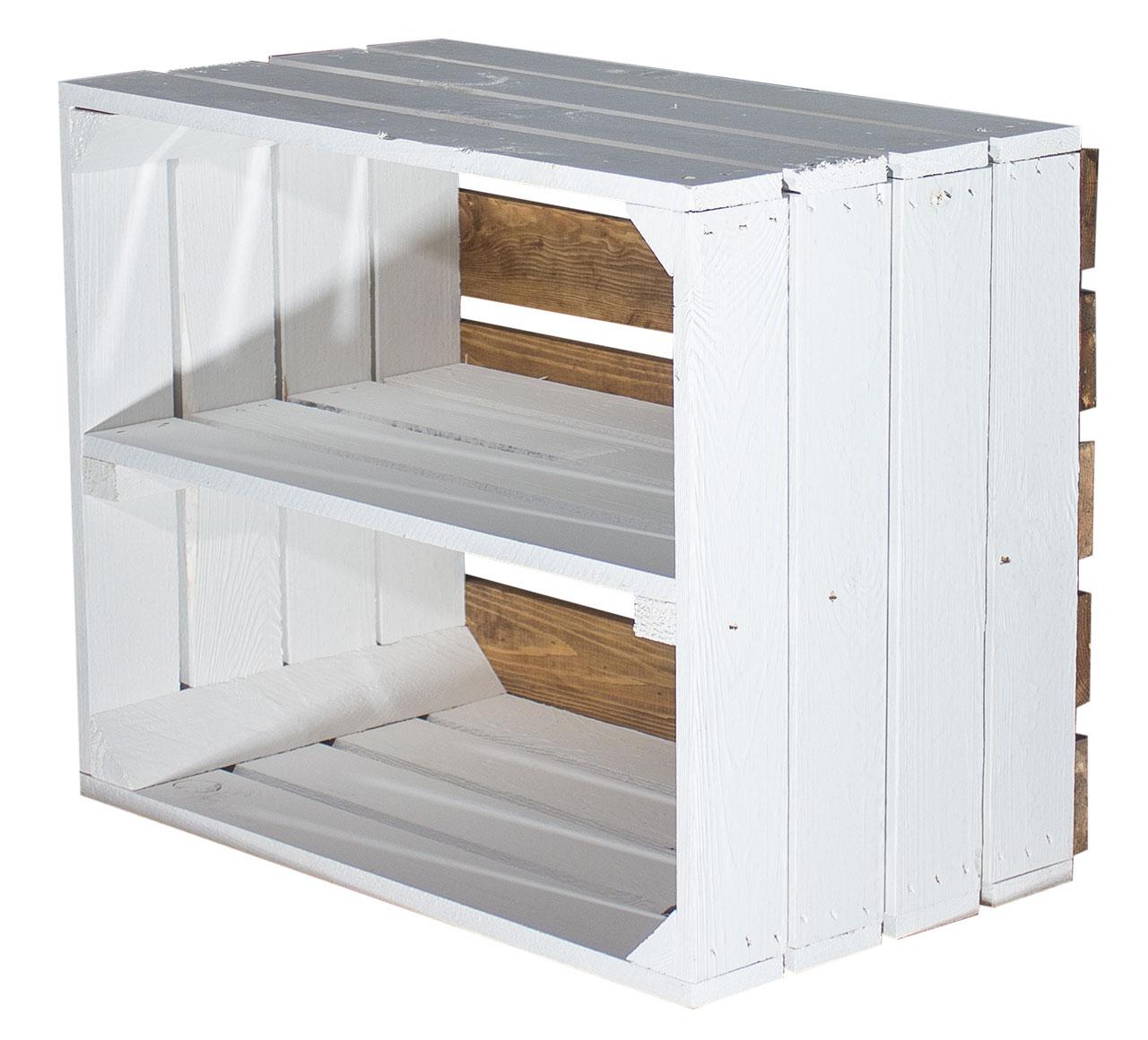 Weißes Regal - Apfelkiste Weißer Boden 50x40x30cm