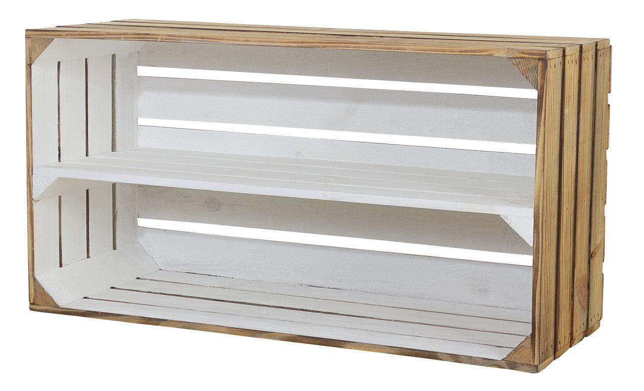 Breite Regalkiste außen geflammt innen weiß 74,5x40,5x31cm