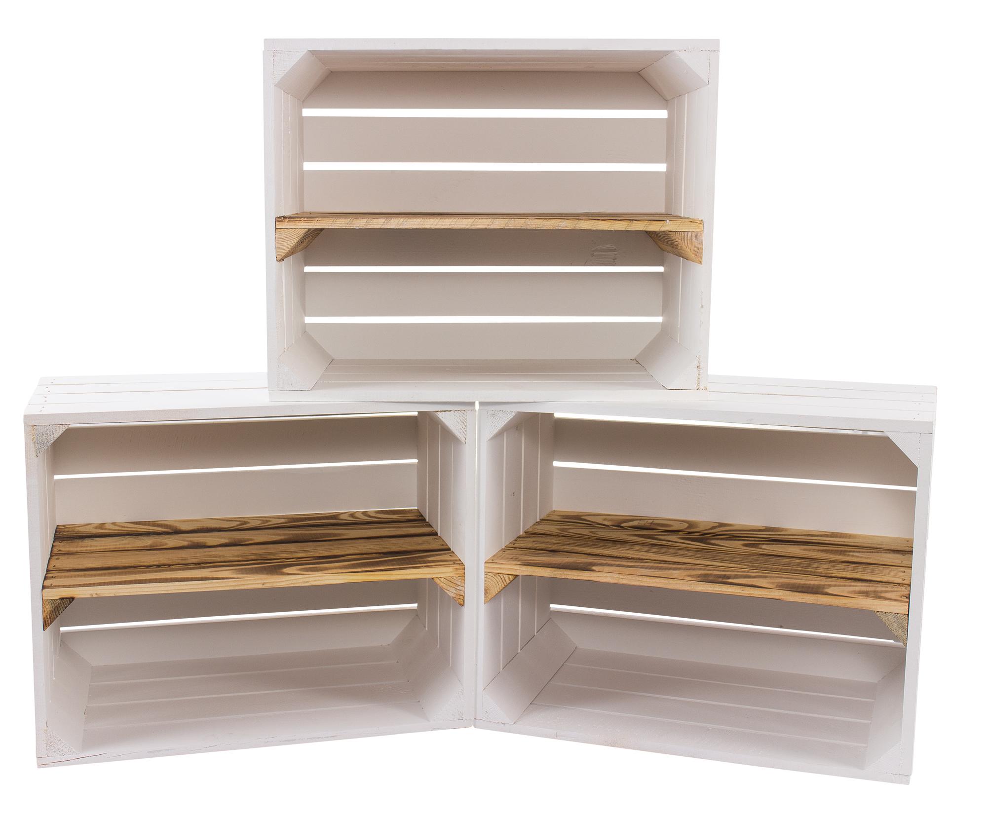 3 Weiße Holzkisten mit geflammtem Mittelbrett -längs- 50x40x30cm