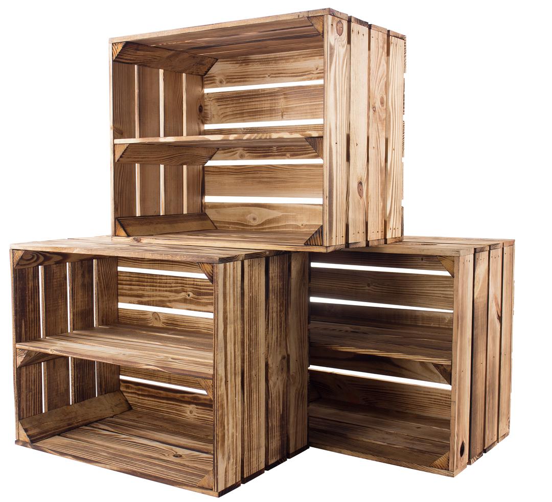 6x Geflammte Kiste für Schuh-und Bücherregal 50x40x30cm