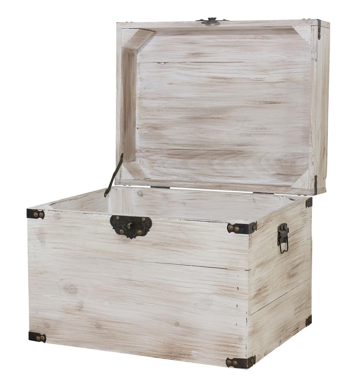 Originelle Holzkiste mit Deckel / optisch sehr dekorativ / Einrichtung im Landhausstil / 45x35x35xcm