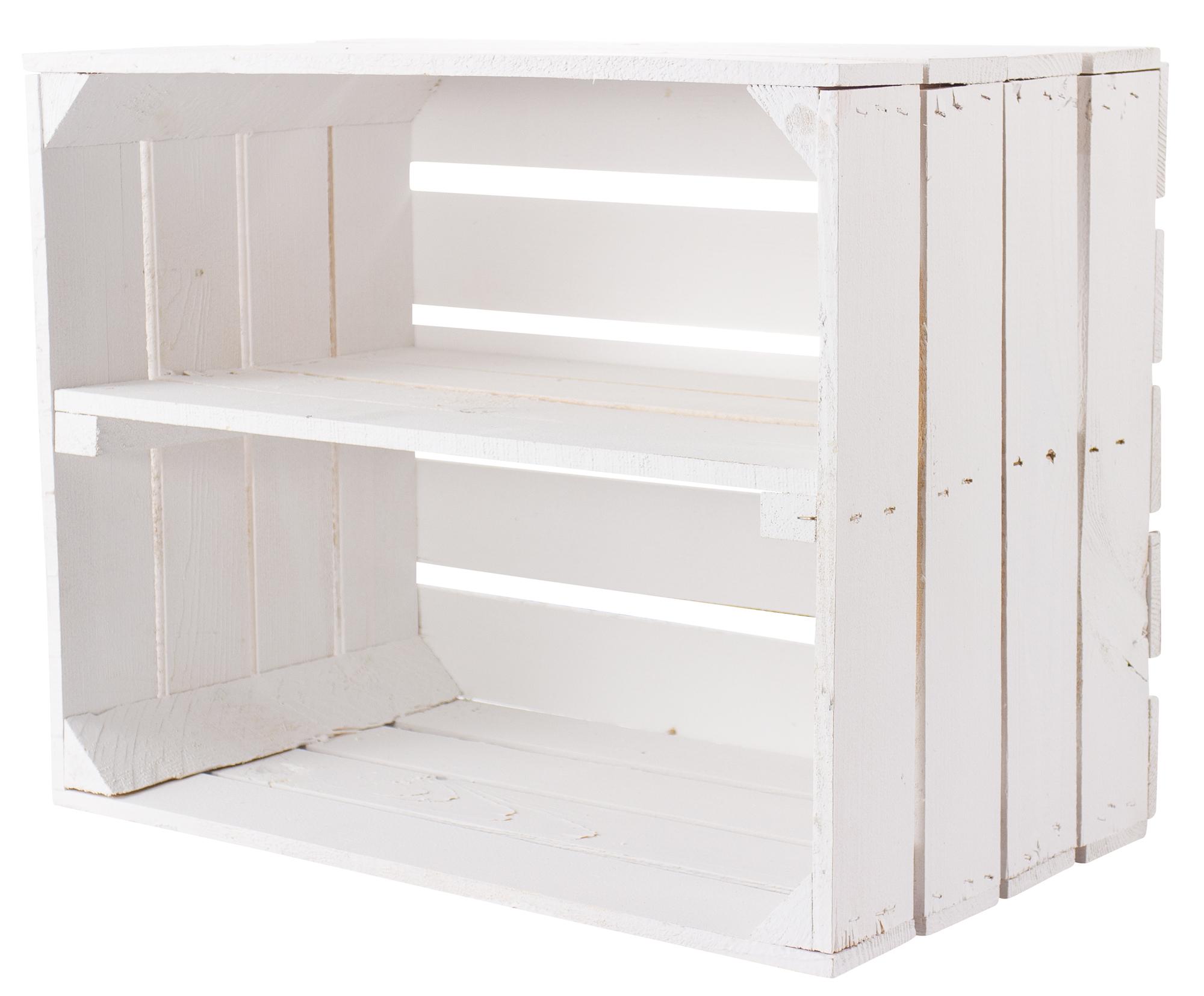 Weiße Kiste als Schuh- und Bücherregal  50x40x30cm