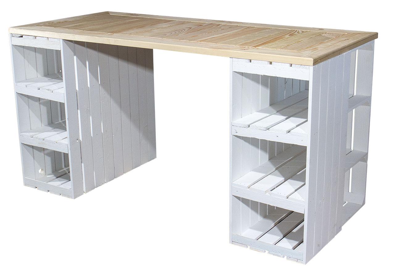 Schreibtisch mit weißen Holzkisten & heller Holzplatte 150x70x75cm