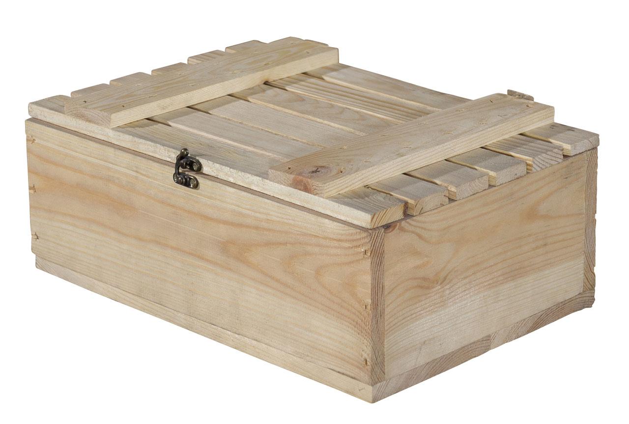 Holzschatulle / Holzkasten / Holzbox mit Deckel und Verschluß sowie einer Kordel 36x28x15cm