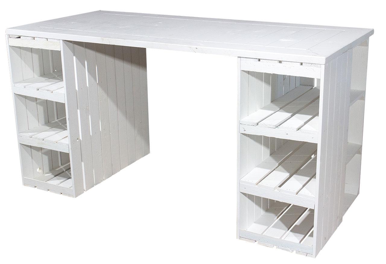 Schreibtisch mit weißen Holzkisten & weißer Holzplatte 150x70x75cm