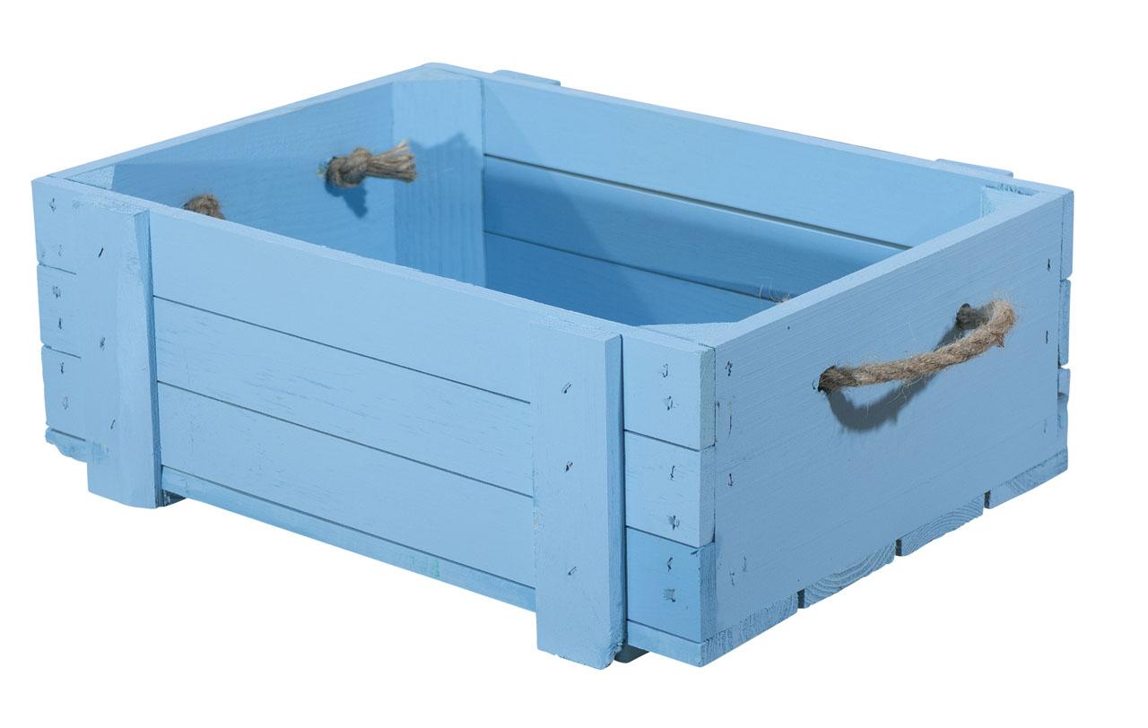 Blaue Holzkiste 40x30x15cm