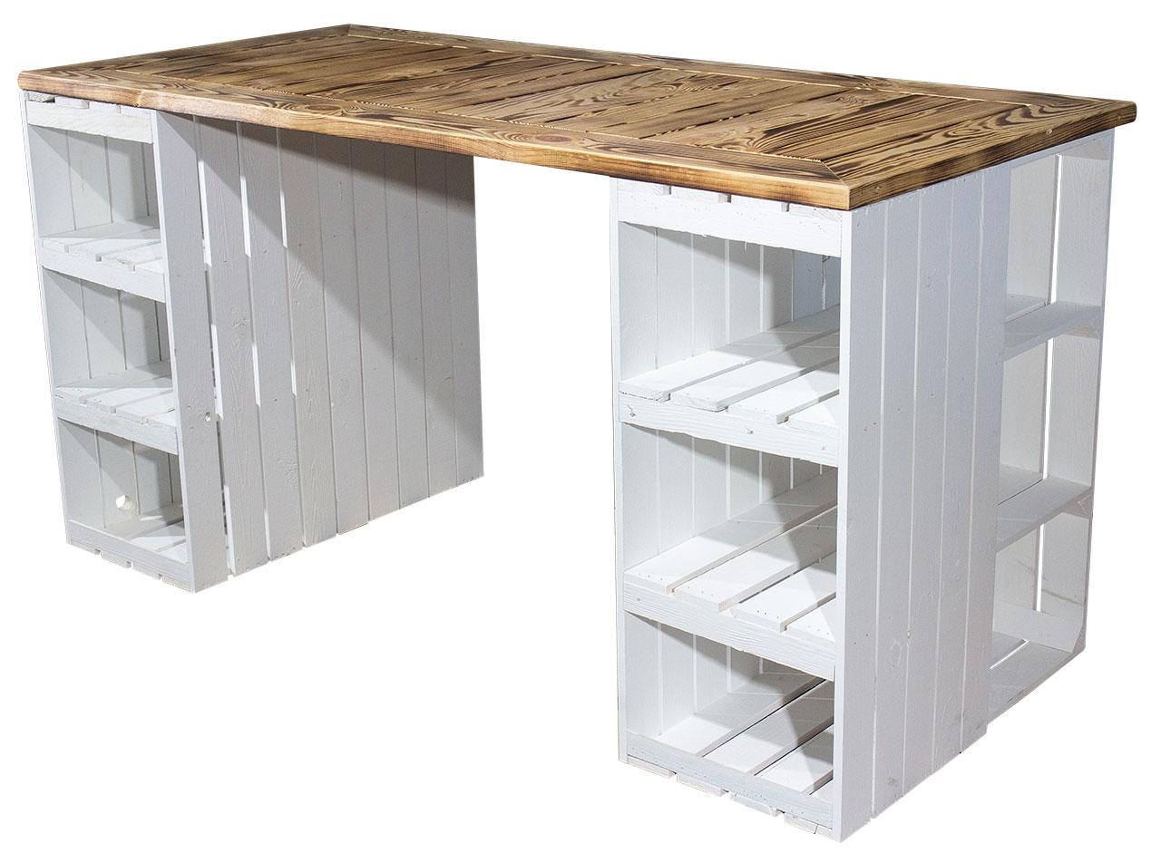 Schreibtisch mit weißen Holzkisten & geflammter Holzplatte 150x70x75cm