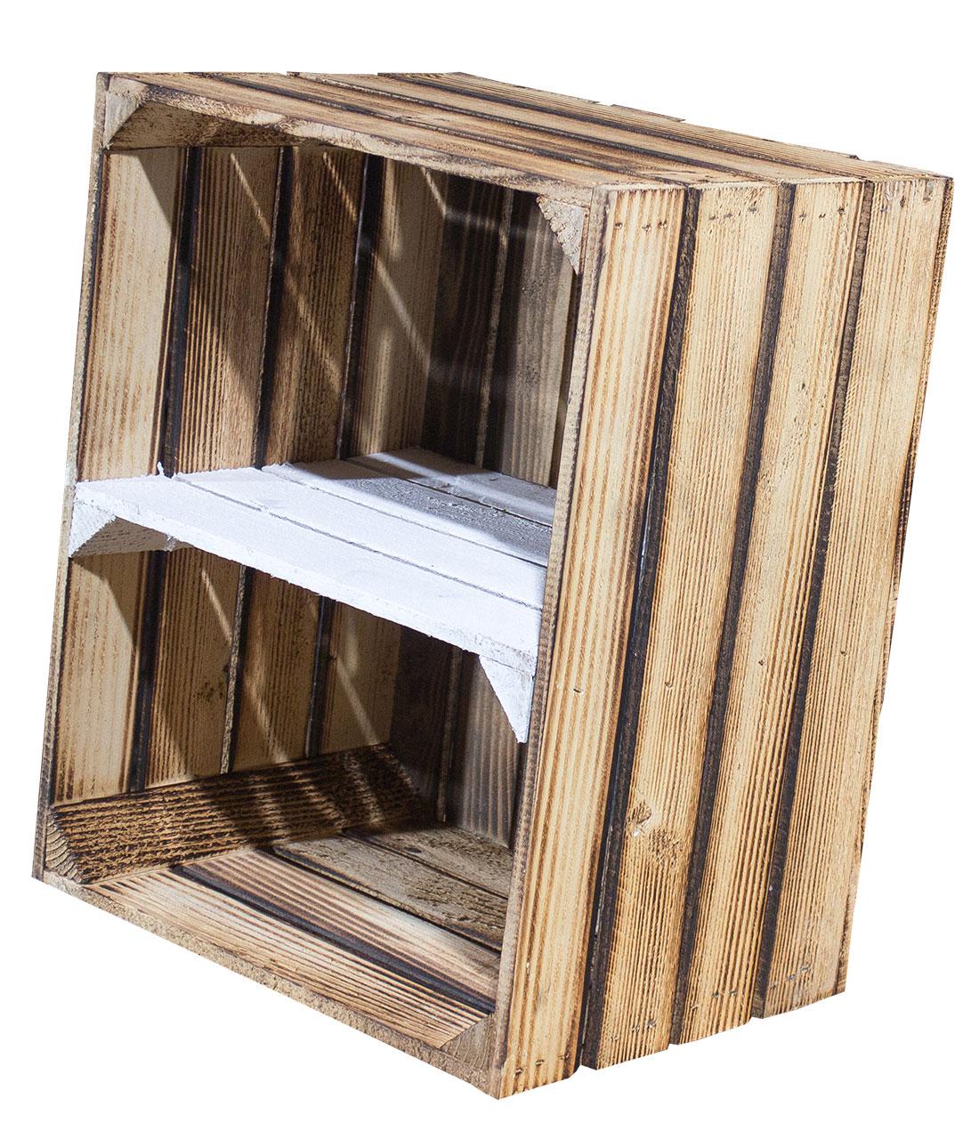 Geflammte Holzkiste mit Mittelbrett in weiß -quer- 50x40x30cm