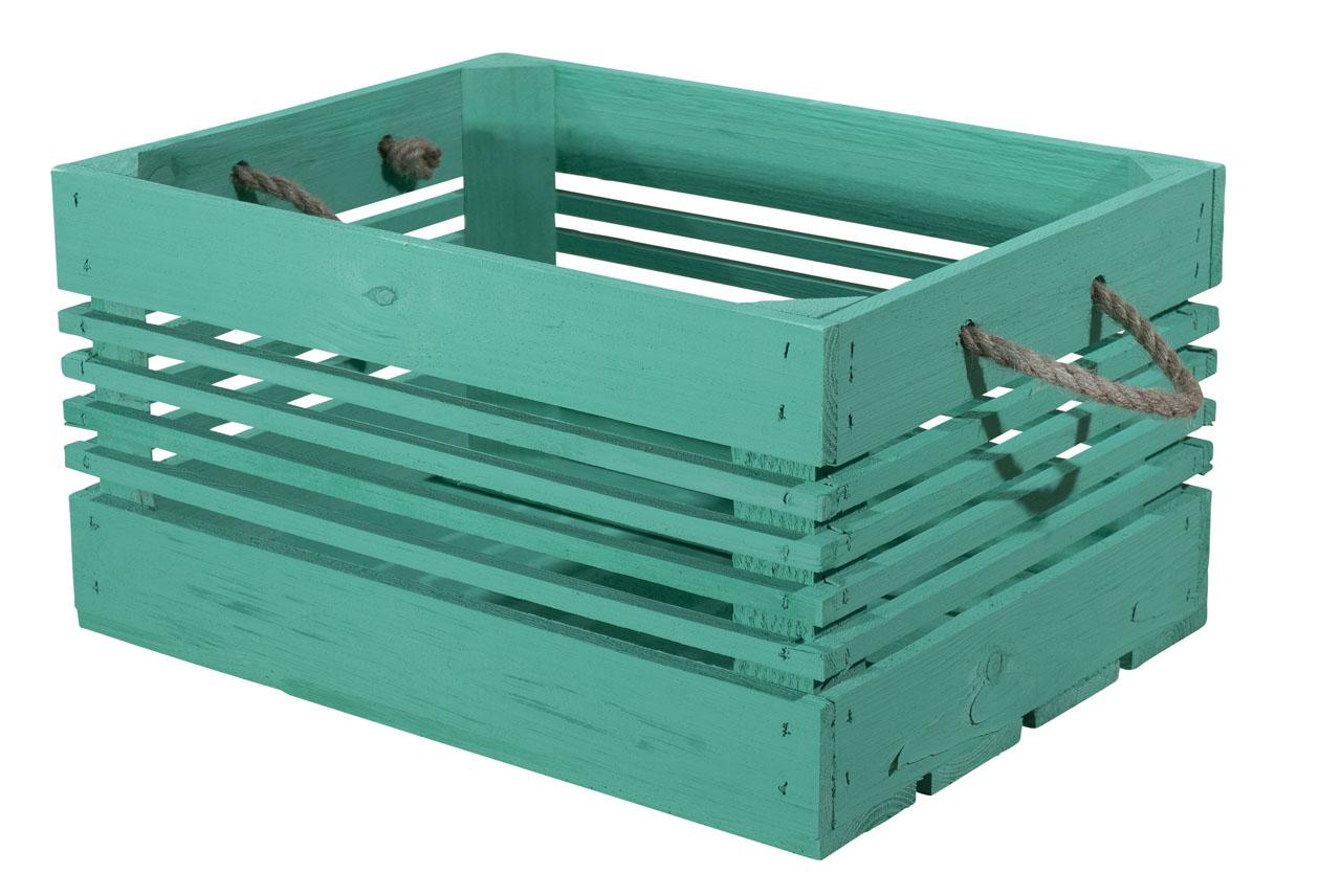 Grüne Holzkiste 40x21x30cm