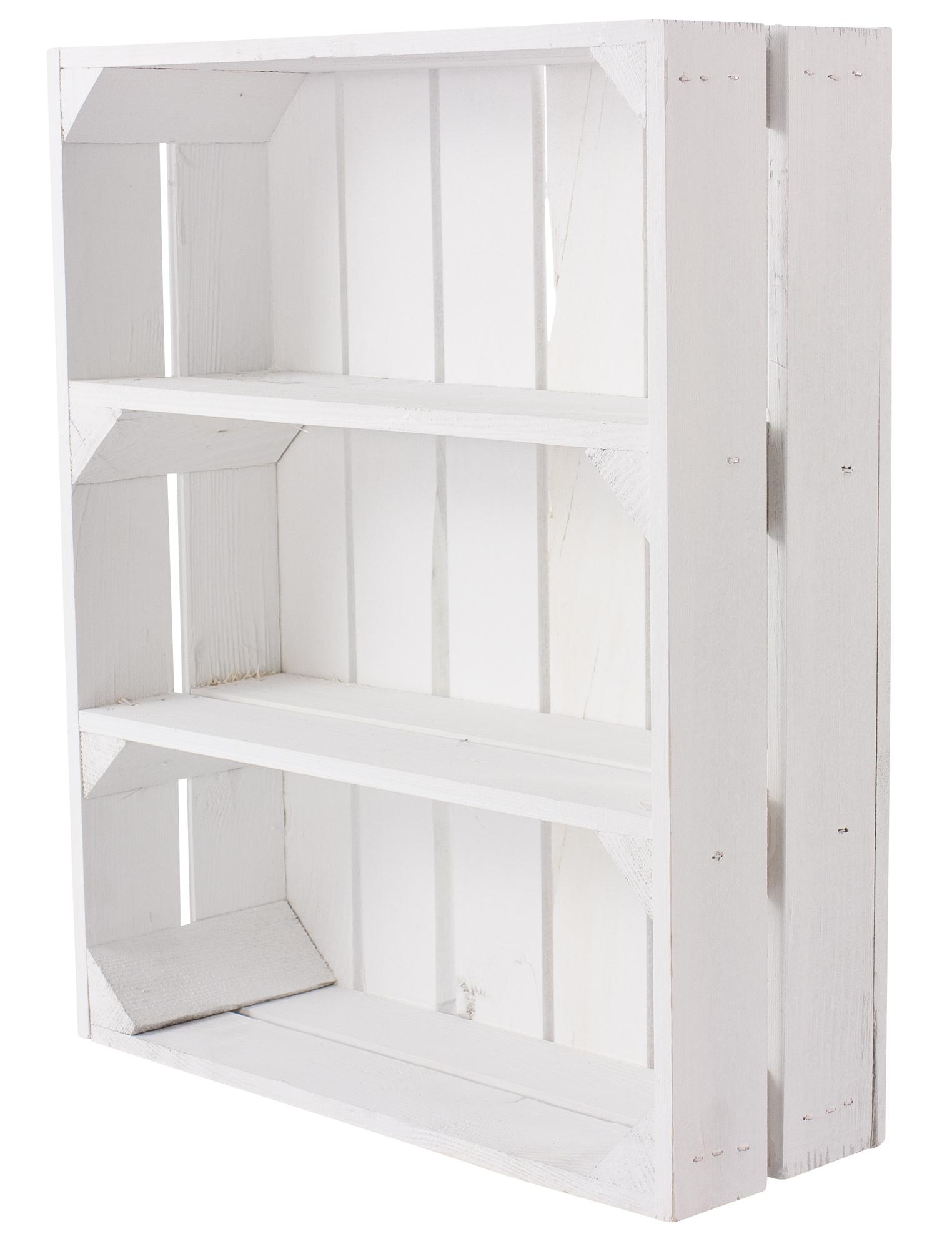 Schmale weiße Regalkiste mit 3 Fächern 50x40,5x16cm