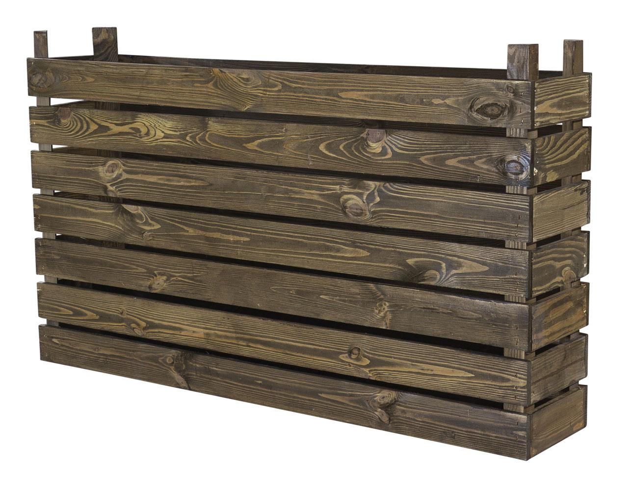 Hochbeet als Zaunelement in dunklem Holz / Sichtschutz 100x60x20cm