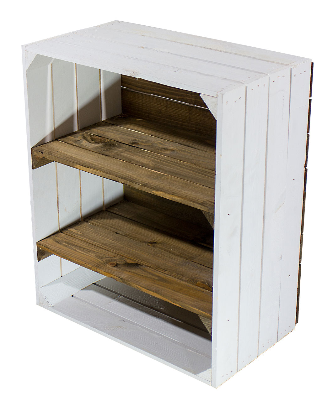 Weiße Hochkant Kiste mit 2 used Mittelbretter 61x50x31cm