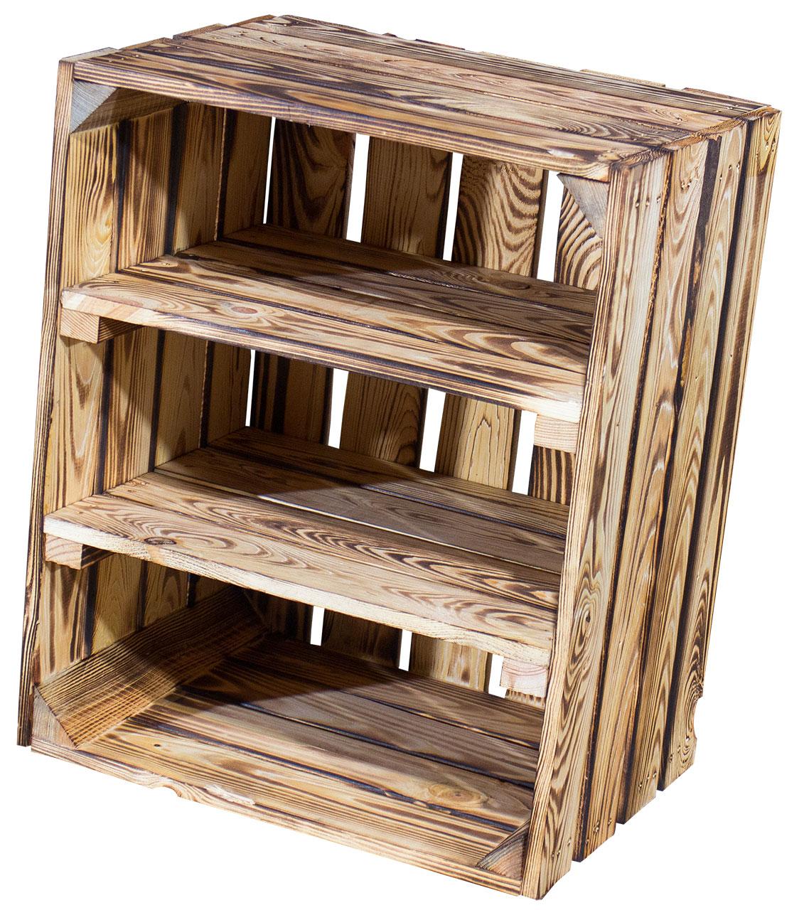 Geflammte Holzkiste mit 2 geflammten Mittelbrettern -quer- 50x40x30cm