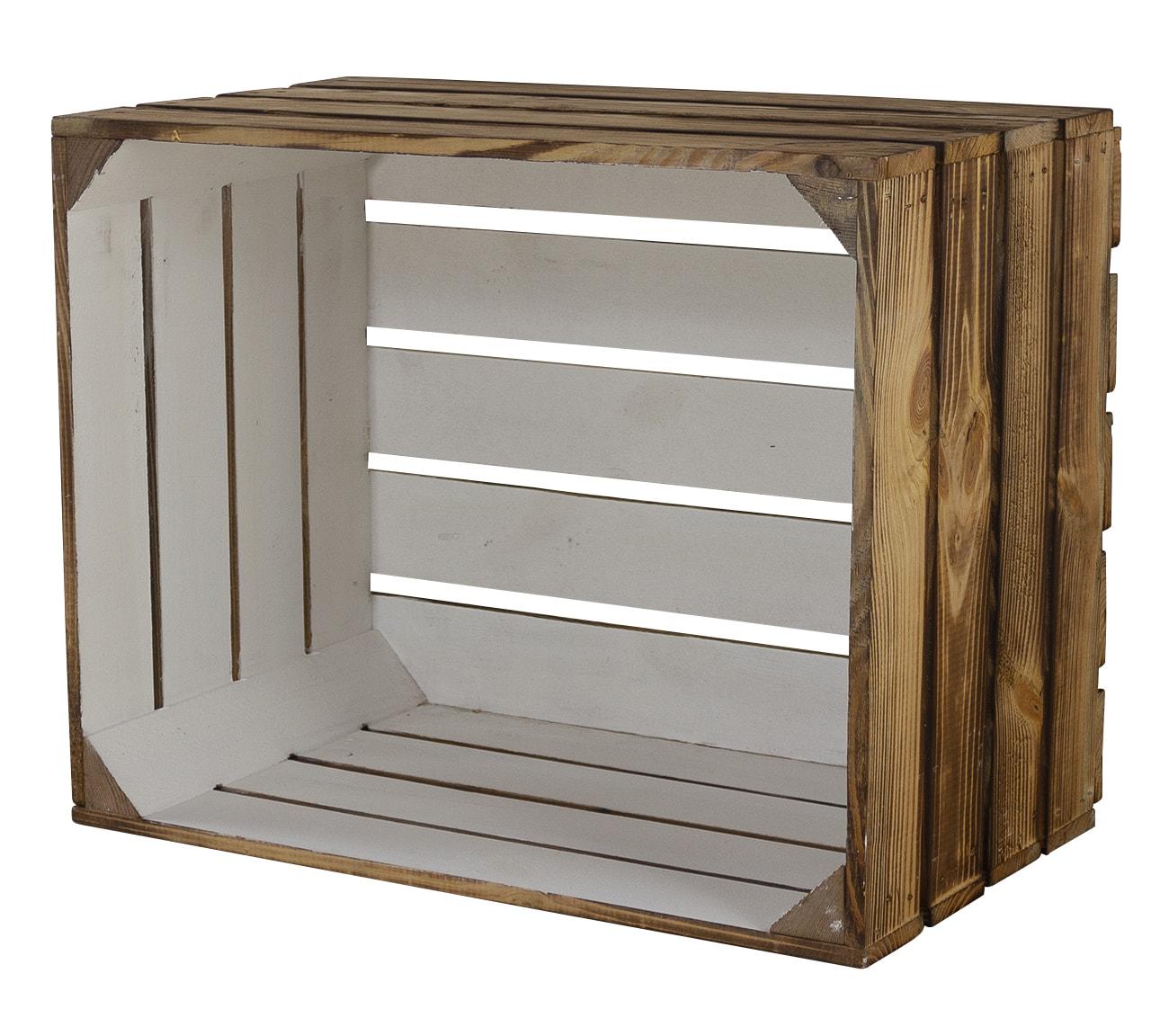 Holzkiste außen geflammt innen weiß 50x40x30cm